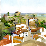 Monsaraz (water-color landscape by our client Mary Arshakian)